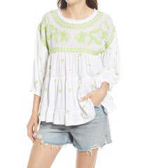 women's free people edie embroidered top, size x-large - white
