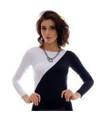 blusa com duas cores preto e branco feminina manga longa decote canoa