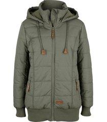 giacca outdoor con dettagli in similpelle (verde) - bpc bonprix collection