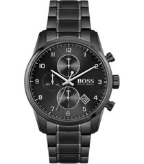 boss men's chronograph skymaster black stainless steel mesh bracelet watch 44mm