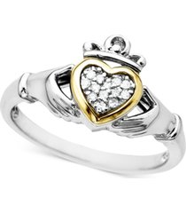 14k gold and sterling silver ring, diamond accent claddagh