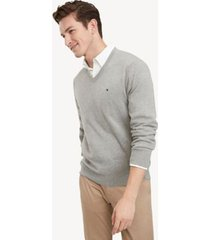 tommy hilfiger men's essential v-neck sweater grey heather - xl