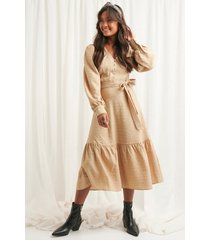 na-kd boho structured tie waist dress - beige