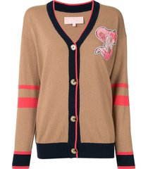 bapy by *a bathing ape® colour-block embroidered cardigan - brown