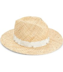 saks fifth avenue made in italy women's ribbon-trimmed straw hat - tan