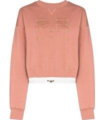 p.e nation block pass logo-embroidered sweatshirt - pink