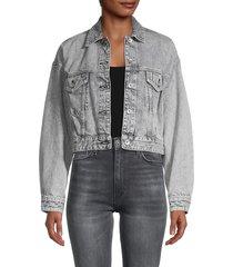 rag & bone women's cropped denim trucker jacket - acid - size xxs