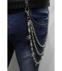 men silver metal wallet chains keychain punk rocker spikes balls charm 3 strands
