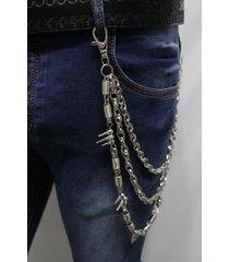 men silver metal wallet chains keychain punk rocker spikes balls charm 3 strands