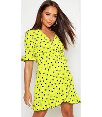 neon spot ruffle front tea dress, green