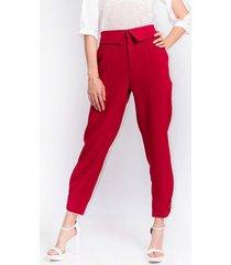 pantalon para mujer en poliester azul color-rojo-talla-8