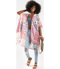 annely scarf print tassel kimono - pink