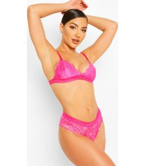 lace bralet & brazilian set, pink