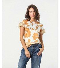 camiseta estampada floral manga corta cuello redondo