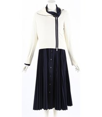 sacai blue white pleated shirt zip jacket dress blue/white sz: l
