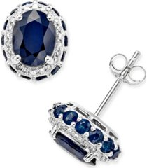 blue sapphire (3-7/8 ct. t.w.) and white sapphire (1/5 ct. t.w.) oval stud earrings in 10k white gold, created for macy's