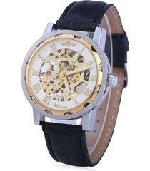 ganador de lujo hueco esqueleto reloj mecánico automático con correa de cuero romana escala reloj de pulsera (blanco de oro)
