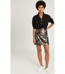 reiss fallon - leather mini skirt in silver, womens, size 14