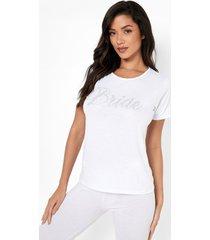 bride pyjama set met steentjes en leggings, white