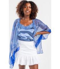 alexx border print kimono - blue