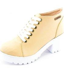 bota coturno quality shoes feminina bege sola branca