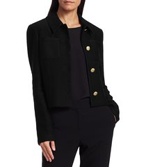 st. john women's float jacquard knit collared jacket - caviar - size 16