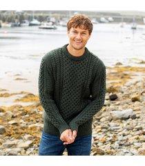 men's traditional merino wool aran sweater army green xxl