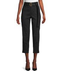 vince women's belted linen-blend pants - black - size xl