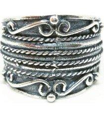 anel lolla925 falange indiano arabescos listra prata 925 - kanui