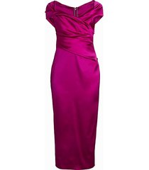 off-the-shoulder stretch satin duchess cocktail dress