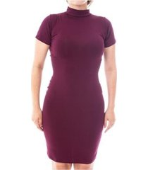 vestido moda vicio justo manga curta gola alta feminino