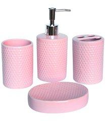 conjunto de acessórios para banheiro em cerâmica com 4 peças rosa