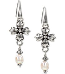 patricia nash freshwater pearl (8mm) floral drop earrings