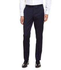 men's nordstrom men's shop trim fit wool blend dress pants, size 38 x - blue