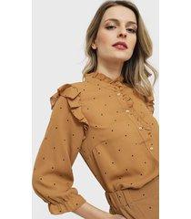 blusa vero moda camel - calce regular