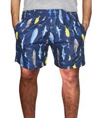 shorts praia estampado   microfibra  azul com bolsos laterais  ref.386.22