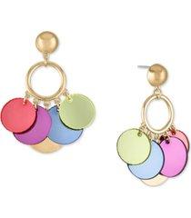 rachel rachel roy gold-tone multicolor shaky disc drop earrings