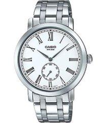 reloj analógico hombre casio mtp-e150d-7b cronógrafo - plateado con blanco