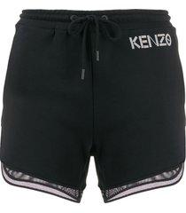 kenzo mesh-trimmed shorts - black