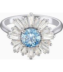 anillo sunshine, azul, baño de rodio 5536743