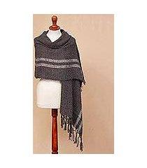 alpaca blend shawl, 'comfort road in grey' (peru)