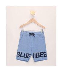 """bermuda de moletom infantil blue vibes"""" com bolsos azul claro"""""""
