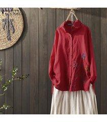 zanzea mujeres bordado tapas de la camisa étnicas abajo de los botones de la blusa de cuello de solapa del tamaño extra grande -rojo
