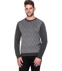 suéter passion tricot slim jacar grafite - kanui