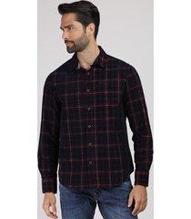 camisa masculina comfort estampada xadrez em flanela com bolso manga longa azul marinho