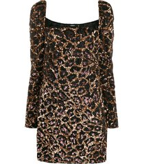 amen leopard pattern cocktail dress - brown