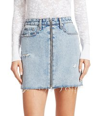 anna zip distressed denim mini skirt