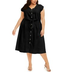 calvin klein plus size tie-waist a-line linen dress