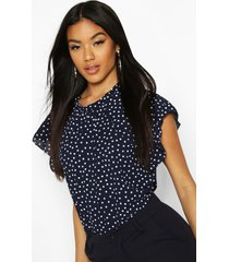 geweven blouse met mouw franjes en stippen, marineblauw
