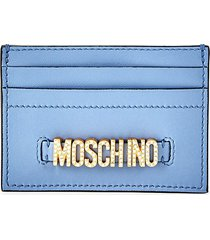 moschino women's embellished logo leather card case - dust blue